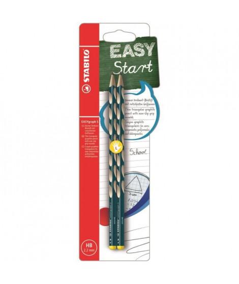 STABILO 2 crayons graphite HB EASYgraph S Gaucher - Bleu ardoise