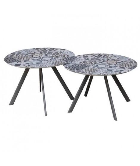 Lot de 2 tables rondes base en métal avec plateau en gres - Noir
