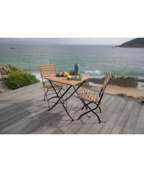 Table de jardin ou de balcon pliable - 2 places - Métal, bois et eucalyptus - L 70 x l 70 cm