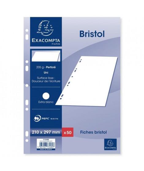 EXACOMPTA 50 fiches Bristol blanches perforées - 210 x 297 mm - Uni PEFC 205 g - Avec encart