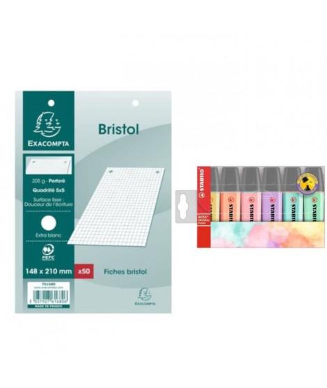 Pack 50 Fiches Bristol Blanches 15x21 cm + STABILO 6 Surligneurs Pastel