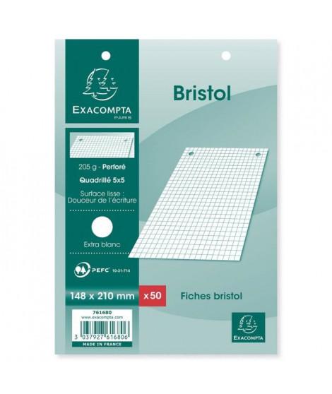 EXACOMPTA - 50 fiches Bristol blanches - 14,8 x 21 - Perforées - 5 x 5 - Papier P.E.F.C. 205G