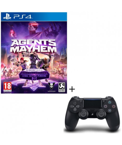 Agents Of Mayhem Day One Edition Jeu PS4 + Manette DualShock 4 Noire V2