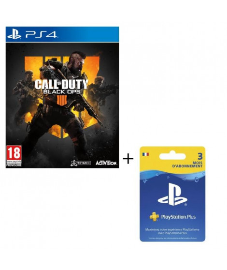 Pack Call of Duty Black OPS 4 Jeu PS4 + Abonnement Playstation Plus 3 Mois