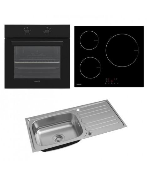 OCEANIC Pack Four multifonction 58 L - Table de cuisson 3 zones - Evier cusine inox 1 grand bac 100x50x19 cm