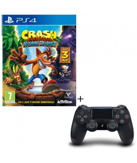 Pack Crash Bandicoot N. Sane Trilogy Jeu PS4 + Manette PS4 DualShock 4 Noire V2