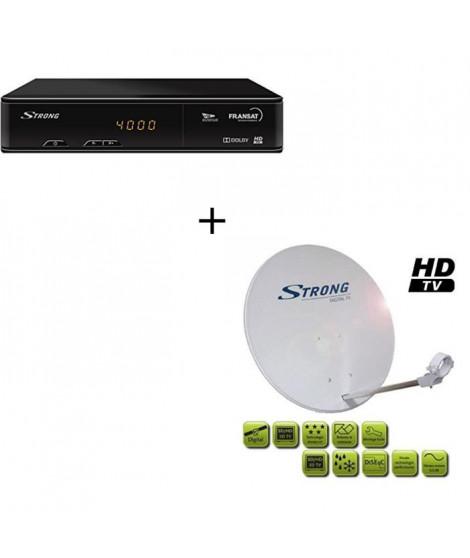Pack STRONG SRT 7405 Décodeur TNT HD satellite FRANSAT HD + Parabole avec tete LNB
