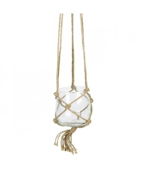 Suspension Boule en verre - Avec corde en chanvre - Ø 12 cm - Blanc transparent