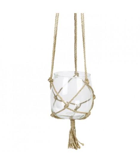 Suspension Boule en verre a suspendre - Avec corde en chanvre - Ø 15 cm - Blanc transparent