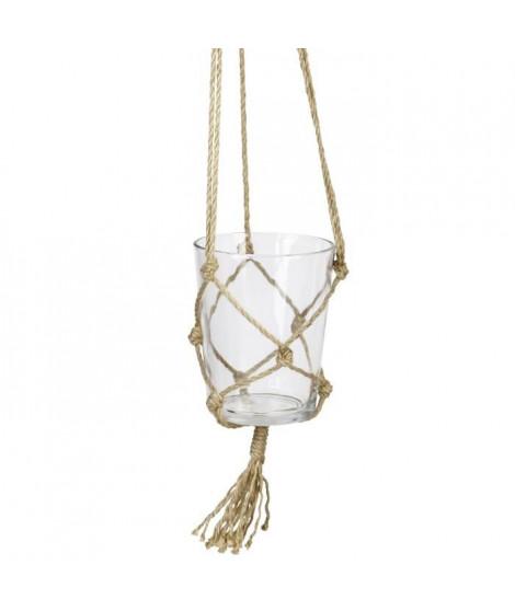 Suspension pot en verre - Avec corde en chanvre - Ø 13 x 16 cm - Blanc transparent