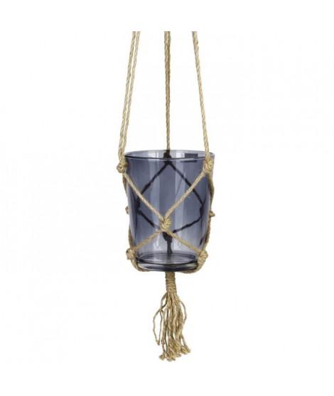 Suspension pot en verre - Avec corde en chanvre - Ø 13 x 16 cm - Gris foncé