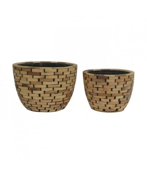 Set de 2 pots - Revetement en bois - Ø 21 x H 16 cm / Ø 26 x H 19 cm - Marron naturel