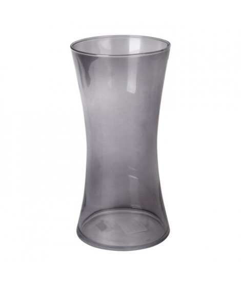 Vase en verre cintré - Ø 12,5 x H 25 cm - Gris