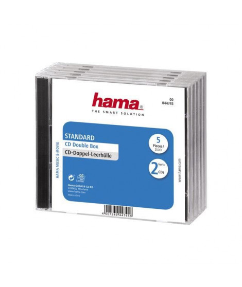 HAMA 44745 Lot de 5 Boitiers CD Standard double - Transparent
