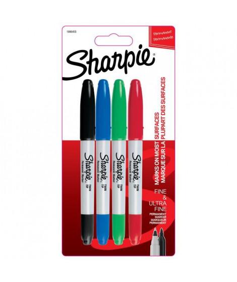 SHARPIE Lot de4 marqueurs permanents - Pointe double - Assortiment de couleurs standards