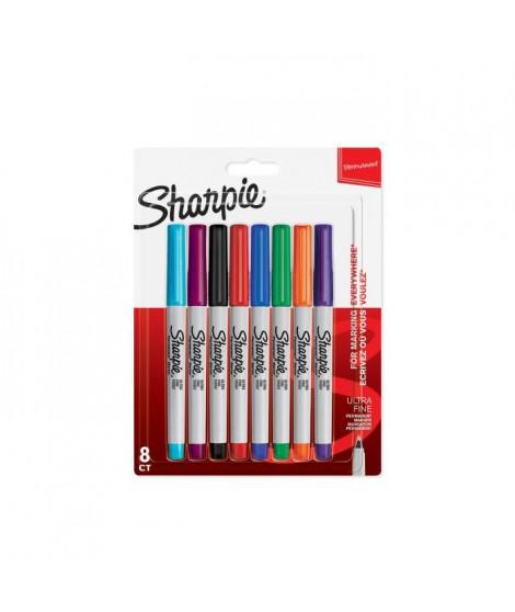 SHARPIE Lot de8 marqueurs permanents - Pointe ultrafine - Assortiment de couleurs