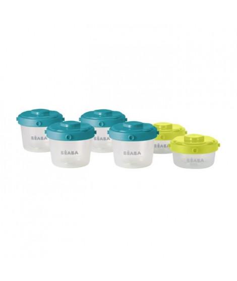 BEABA Lot de 6 portions clip 1er âge 60ml et 120ml (coloris assortis blue/neon)