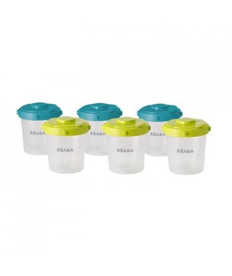BEABA Lot de 6 portions clip 2eme âge 200ml (coloris assortis blue/neon)