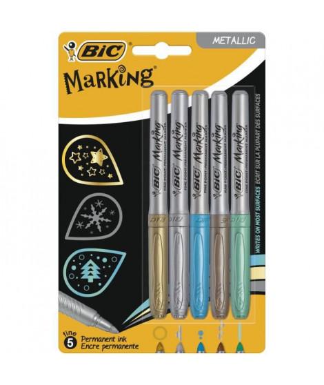 BIC Marking Marqueurs Permanents a Pointe Moyenne- Couleurs Métalliques Assorties, Blister de 5