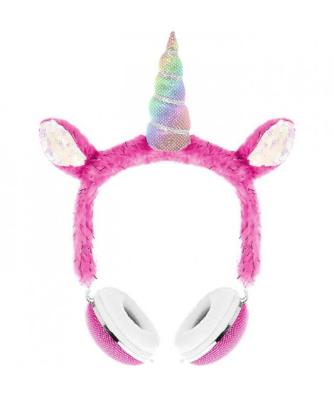 DGL TOYS casque audio enfant Peluche Licorne - Rose
