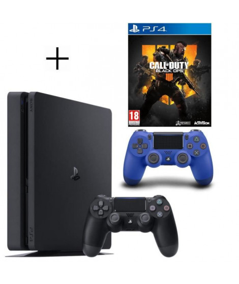 Pack PS4 500 Go Noire + Manette PS4 DualShock 4 Bleu V2 + Call of Duty Black OPS 4 Jeu PS4