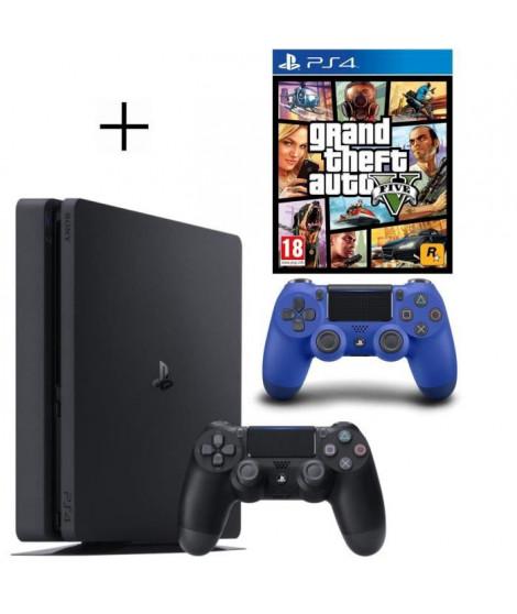 Pack PS4 500 Go Noire + Manette DualShock 4 Bleue PS4 V2 + GTA V Jeu PS4