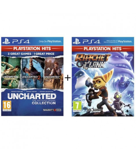 Pack 2 Jeux PS4 PlayStation Hits : Ratchet & Clank + Uncharted Nathan Drake Collection