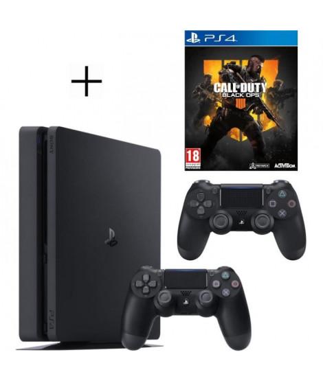 Pack PS4 500 Go Noire + 2eme manette DualShock 4 Noire + Voucher Fortnite + Call of Duty Black OPS 4 Jeu PS4