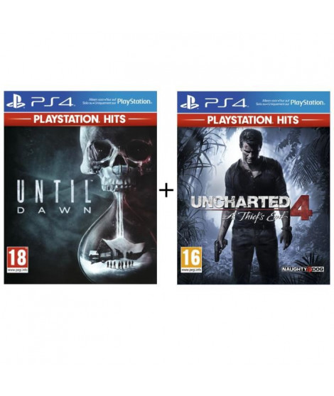 Pack 2 Jeux PS4 PlayStation Hits : Uncharted 4 + Until Dawn