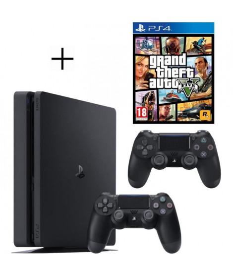 Pack PS4 500 Go Noire + 2eme manette DualShock 4 Noire + Voucher Fortnite + GTA V Jeu PS4