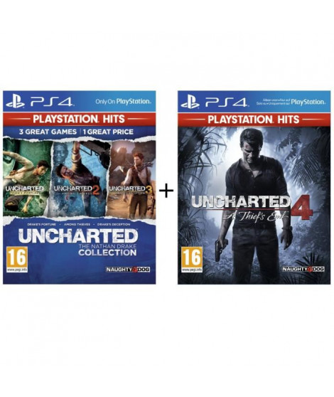 Pack 2 Jeux PS4 PlayStation Hits : Uncharted 4 + Uncharted Nathan Drake Collection