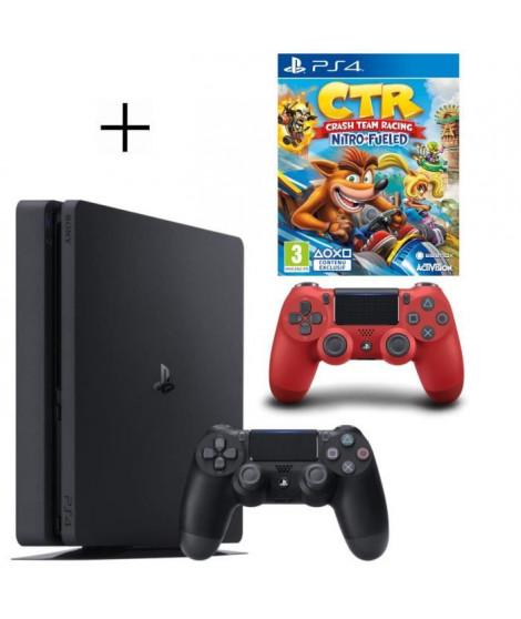 Pack PS4 500 Go noire + 2eme manette rouge offerte + Crash Team Racing Nitro Fueled Jeu PS4