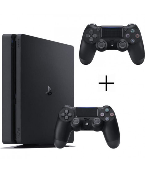 Pack PS4 500 Go Noire + 2eme manette DualShock 4 Noire + Voucher Fortnite