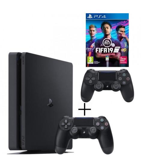 Pack Playstation : PS4 500 Go Noire + Manette Dual Shock 4 Noire V2 + Voucher Fortnite + FIFA 19 Jeu PS4
