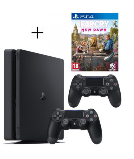 Pack Playstation : PS4 500Go + Manette PS4 + Voucher Fortnite + Far Cry New Dawn