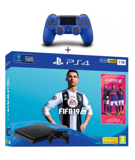 Pack PS4 1 To Noire + FIFA 19 + 2eme Manette Dualshock 4 Bleue