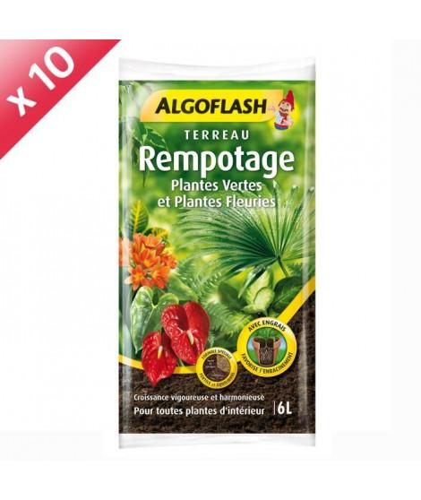 ALGOFLASH Lot de 10 sacs de Terreau Rempotage Plantes vertes et plantes fleuries - 6 L