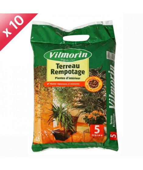 VILMORIN Lot de 10 sacs de Terreau rempotage plantes d'intérieur - 5L