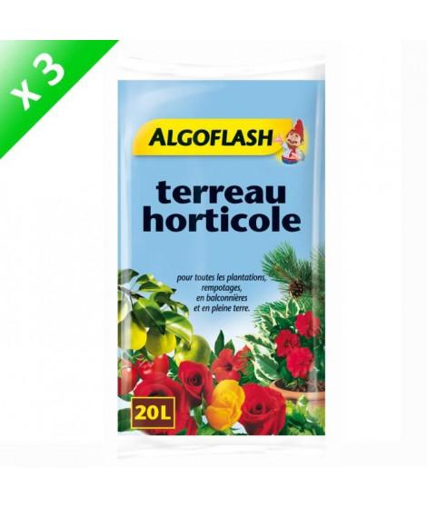 ALGOFLASH Lot de 3 sacs de Terreau horticole 20 L