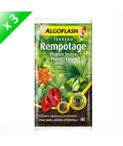 ALGOFLASH Lot de 3 sacs de Terreau Rempotage Plantes vertes et plantes fleuries - 6 L