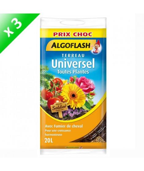 ALGOFLASH Lot de 3 sacs de Terreau Universel - 20 L - Prix choc
