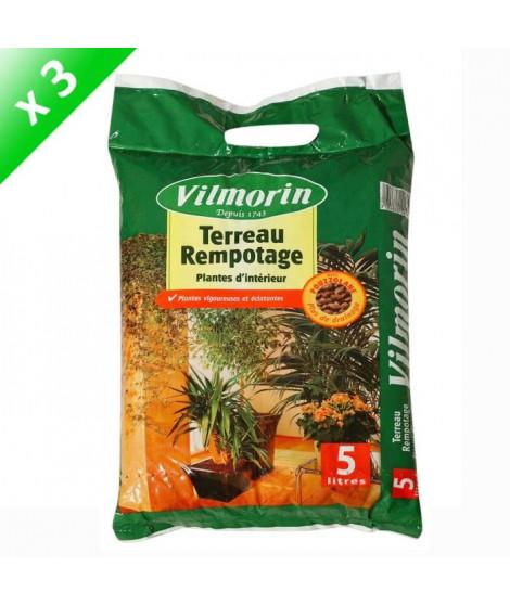 VILMORIN Lot de 3 sacs de Terreau rempotage plantes d'intérieur - 5 L