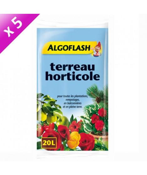 ALGOFLASH Lot de 5 sacs de Terreau horticole 20 L