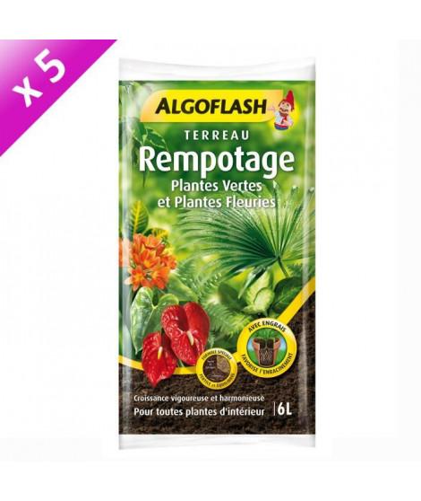 ALGOFLASH Lot de 5 sacs de Terreau Rempotage Plantes vertes et plantes fleuries - 6 L
