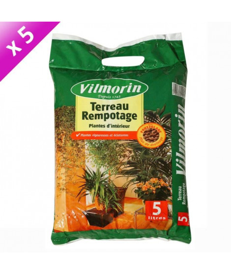 VILMORIN Lot de 5 sacs de Terreau rempotage plantes d'intérieur - 5L