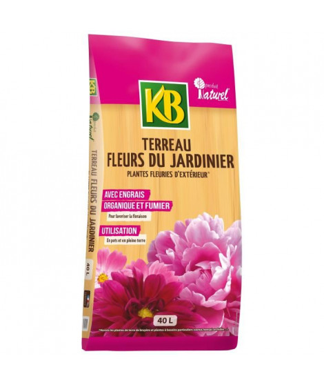 KB Terreau Fleurs du Jardinier plantes fleuries d'extérieur - 40 L