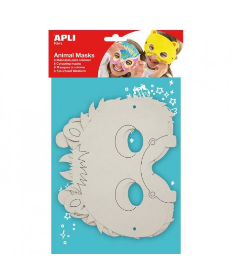 APLI Pochette 6 Masques Animaux a colorier 6 Modeles Assortis