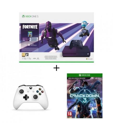Xbox One S 1 To Fortnite + 2e manette + Jeu Xbox One Crackdown 3