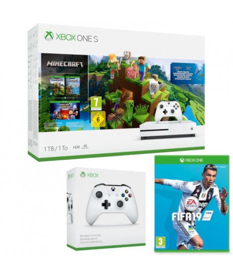 Xbox One S 1 To Minecraft + 2e manette + Fifa 19