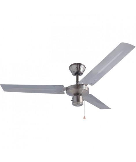 BESTRON Ventilateur De Plafond - 60W - 120 cm - Pales Inox Brossé